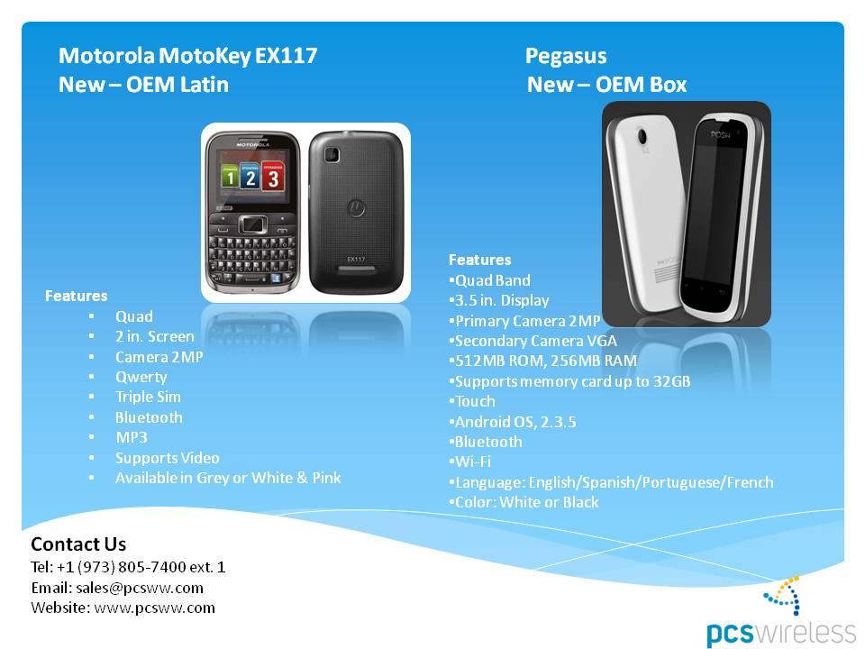 Wholesale Motorola EX117 & Posh Pegasus cell phones