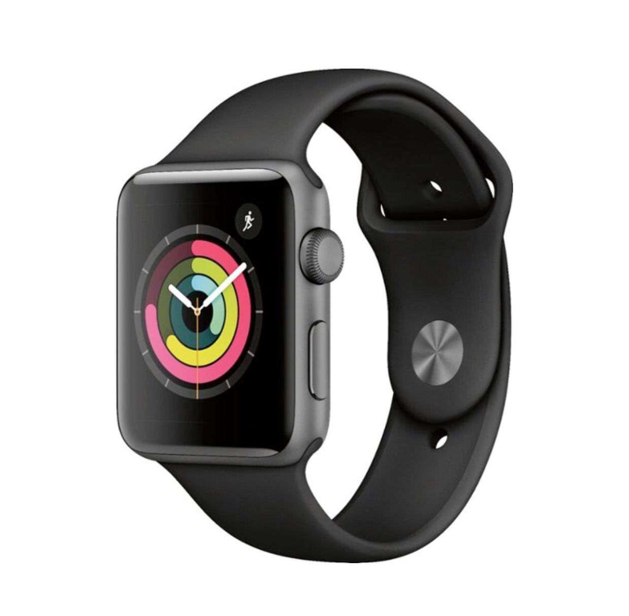 Wholesale Apple Watch Series 3 (GPS) 42mm Space Gray Aluminum Case - Black Sport Band