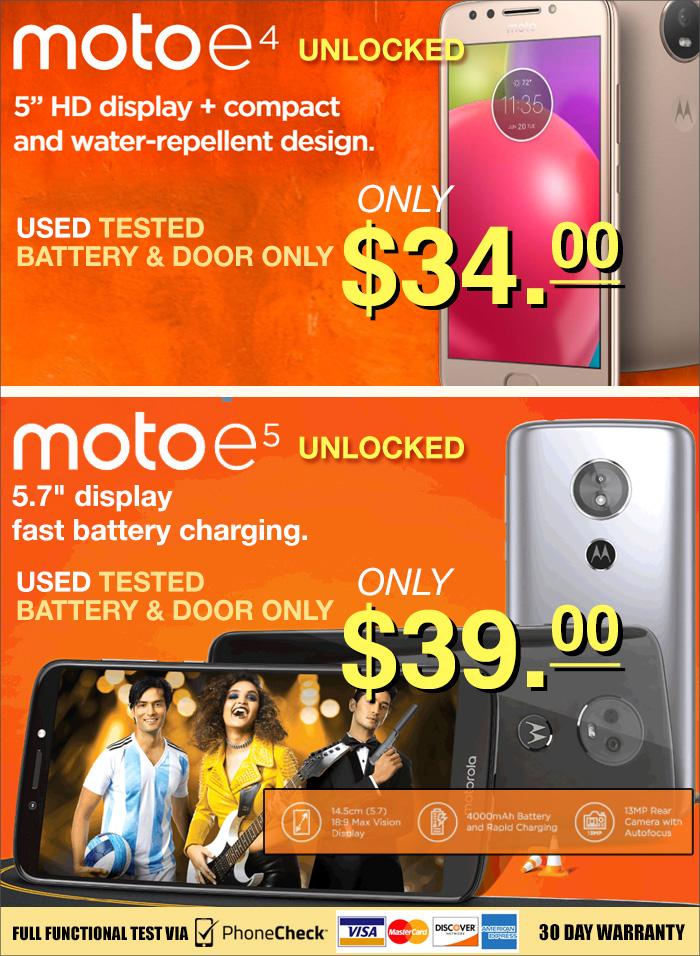 Motorola E4 and E5 available!